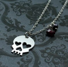 Love you to death Heart Skull Necklace by bLuGrnDesign on Etsy, $42.00