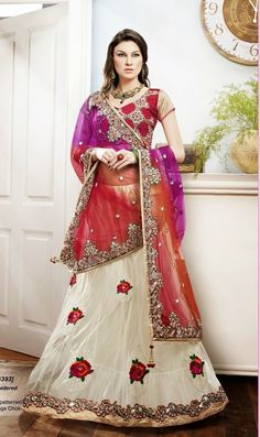 SareeStudio Red Cream Bridal Wear Embroidery Zari Stone Work Net Lehenga