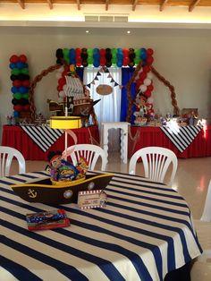 Centros de mesa, fiesta piratas, barco, red