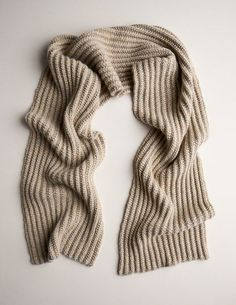 Our Two-Tone Mistake Rib Scarf knitting pattern creates a fairly magical outcome using a simple mistake rib stitch and single-row striping!