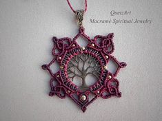 ☮ ॐ Ⓥ Macramé Mandala Necklace TREE OF LIFE. Sacred Geometry Jewelry. ✦✦✦ Spiritual Jewelry designed and carefully handmade by QuetzArt with ancient macramé technique. ✦✦✦ For all free spirited women who want to enjoy their unique style and feel the magic power of the healing crystals!