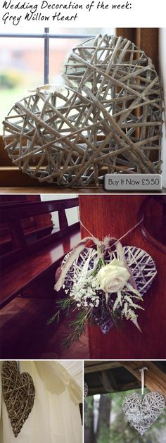 Hanging Grey Willow Hearts ~ Hang As Pew Ends, Wedding Chair Backs, In Marquees #wedding #theweddingofmydreams available from www.theweddingofmydreams.co.uk