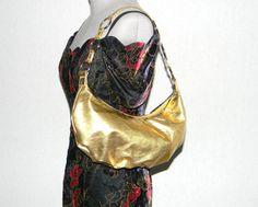 Gold Metallic Purse. Vintage Shoulder Bag Disco. by ChickClassique, $22.00