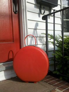 Red Round Circle Suitcase Traincase  American by GrandManner, $125.00