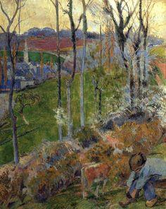 Paul Gauguin - Post Impressionism - Hiver, petit Breton arrangeant son sabot - Winter, little boy with clog - 1888