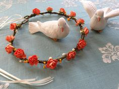Fall Wedding CROWN with orange roses and by ArkSouthernBelle