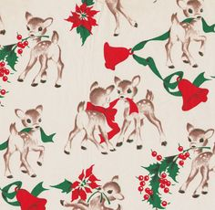 Adorable reindeer vintage Christmas wrapping paper. #christmas #retro #vintage