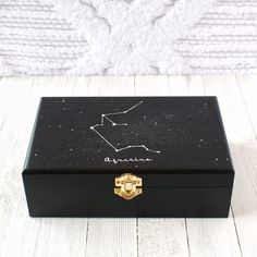 Anniversary Gift Ideas For Him Discover Astrology Wooden Keepsake Box Wooden Box Crafts, Painted Wooden Boxes, Wooden Diy, Wood Boxes, Handmade Wooden, Personalised Wooden Box, Wooden Keepsake Box, Keepsake Boxes, Personalized Jewelry