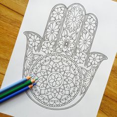 Hamsa graciosa dibujado a mano colorante adultos por MauindiArts