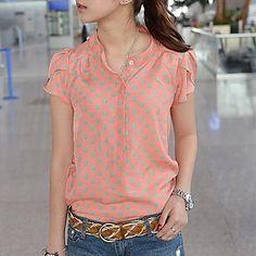 Mujeres estilo coreano Camisa anaranjada de los lunares Loose Cable Composite manga corta – USD $ 16.09