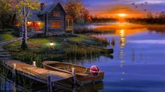 rest house, nature, art, lake, fishing house, sunset