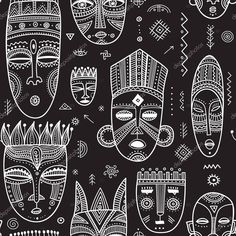 Vector seamless pattern with African ethnic tribal masks decorated. Vector seamless pattern with African ethnic tribal masks decorated.,new Vector seamless pattern with African ethnic tribal masks decorated with boho ornaments and ritual symbols. African Symbols, African Tribal Patterns, Ethnic Patterns, Prints And Patterns, Tribal Symbols, Et Wallpaper, Disney Wallpaper, Wallpaper Backgrounds, Iphone Wallpaper