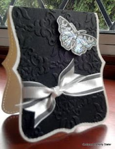 "Change the colors & ribbon style - use favorite ""top note"" image & butterfly instead of using dies & stamps"