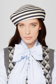 Striped woven hemp and cotton-blend beret