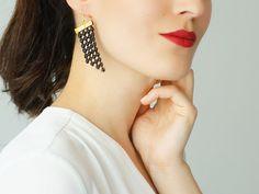 Black Earrings Statement Earrings Lace Earrings Dangle Earrings Geometric Earrings Fashion Earrings Gift For Her / PAOLI
