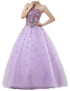 Strapless Neckline Ball Gown Prom Dress with Lavish Beading Bodice