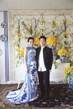 The bride and groom planned their wedding decor around the bride's bold chinoiserie chic gown, with pops of yellow to bring out the blues // Ronald and Evelyn's Colourful Wedding With Chinoiserie Touches