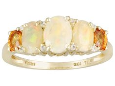 Ethiopian Opal, Orange Sapphire and Diamond Ring