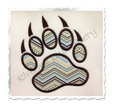 Applique Bear Paw Print Machine Embroidery by RivermillEmbroidery, $2.95