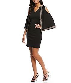 Adrianna Papell VNeck Embellished Cold Shoulder Dress #Dillards