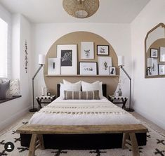 We 💕this boho look by Sporting one of our favorite rugs, the Alstead Area Rug and the coolest paint job we've ever seen, we ❤️ this bedroom to the 🌙 and 🔙! Dream Bedroom, Home Decor Bedroom, Bedroom Wall, Bedroom Windows, Bed Wall, New Room, Home Decor Inspiration, Decor Ideas, Cheap Home Decor