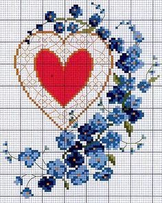Cross-stitch Dream-catcher Heart with Forget-me-not Flowers... no color chart available, just use pattern chart as your color guide.. or choose your own colors...