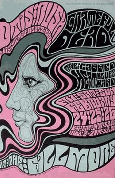 The pop and psychedelic art phenomenon emerged with force majeure during the mid 60s. Wes Wilson became the best known and most influential graphic designer of his time. Certainly he was the most prolific and seemed to have enjoyed, if not a monopoly, then certainly the lion's share of the poster design commissions for the Fillmore Auditorium, the place where most bands use to play along with the Avalon Ballroom, both in San Francisco.  / Art Democracy´s album SPIRIT OF THE SIXTIES