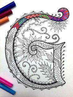 Letter G Zentangle Inspired by the font Harrington by DJPenscript