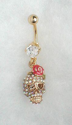 Unique Belly or Navel Ring   Skull by pondgazer2004 on Etsy, $12.95