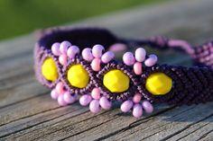 Micro-Macrame perles Bracelet manchette de chanvre  par hempkitty