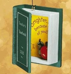 $16.00-$16.00 Teacher 2002 Hallmark Ornament QX8973 - Artist: Tammy Haddix. Sentiment: Brighter...because of you! Features frame to hold either note or photo. Retired Hallmark Keepsake Ornaments come in mint condition in their original packaging. http://www.amazon.com/dp/B000DN8E9S/?tag=pin2wine-20