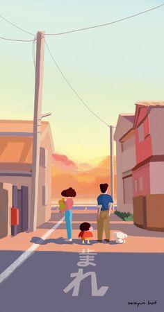 Sinchan Wallpaper, Homescreen Wallpaper, Pastel Wallpaper, Cartoon Wallpaper, Crayon Shin Chan, Sinchan Cartoon, Disney Princess Pictures, Family Drawing, Korean Painting