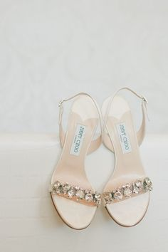 Bedazzled Jimmy Choo shoes -- See the wedding here: http://www.StyleMePretty.com/california-weddings/2014/05/15/pink-and-gold-wedding-at-the-london-west-hollywood/ onelove photography - onelove-photo.com on #SMP #jimmychooheelswedding #jimmychoobridal