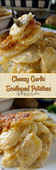 Garlic Scalloped Potatoes are incredibly creamy, loaded with cheese, and a family favorite - -Cheesy Garlic Scalloped Potatoes are incredibly creamy, loaded with cheese, and a family favorite - - Side Dish Recipes, Vegetable Recipes, Vegetarian Recipes, Cooking Recipes, Kitchen Recipes, Cooking Tips, Crockpot Recipes, Healthy Veg Recipes, Skinny Recipes
