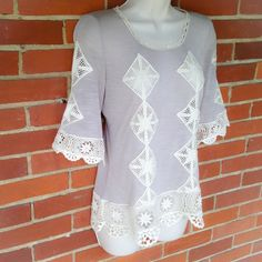 NWT Gray Embroidered 3/4 Sleeve Casual Top Size S So cute! Boutique Tops