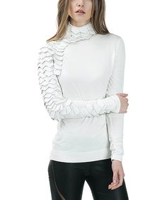 Another great find on #zulily! CQbyCQ Ivory Faux Leather-Embellishment Turtleneck by CQbyCQ #zulilyfinds