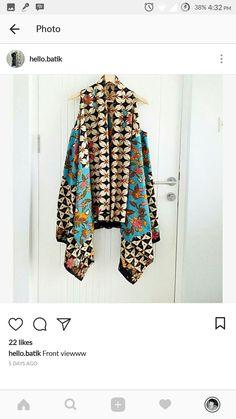 Cardigan batik Batik Kebaya, Kebaya Dress, Blouse Batik, Batik Dress, Batik Fashion, Diy Fashion, Outer Batik, Ethinic Wear, Traditional Fabric
