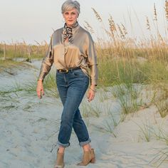 Jeans worn with silk shirt, neck scarf and booties | Photo shared by Beth | For more style inspiration visit 40plusstyle.com