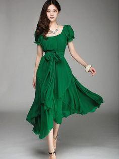Women's Irregular Chiffon Mini Dress with Belt