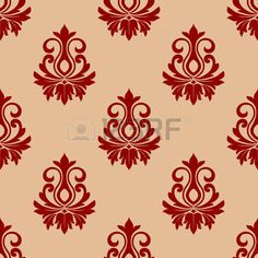 Beige and maroon floral seamless pattern background for wallpaper or fabric design photo