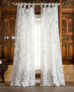 "Amazon.com - White vertical ruffles faux silk tie top unlined window/bed curtain panel (52""W X 108""L) -"