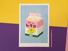 A bigger riso graph print of a box of lemon milk A3
