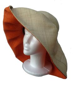 Natural and Bright Orange Sun Hat Millinery Hats d7f57c7cbd50