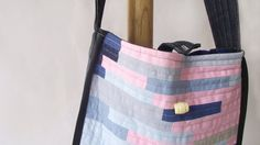 Pink Tote Bag Hand Bag Patchwork Tote Bag Lined by duduhandmade denim