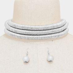 "11"" silver 3 row metallic choker collar bib coil necklace .35"" earrings"