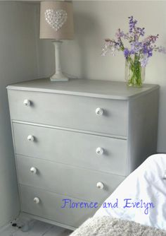 A vintage chest of drawers painted by Florence and Evelyn in Paris Grey