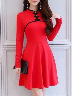 Achète Robes - Rouge A-ligne Casual Dress en ligne. Découvrez la mode styliste unique chez PopJuLia.com.