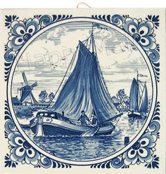 Delft Blue Tile, Windmill Scene with Fancy Border, 6 Delft Tiles, Blue Tiles, Blue And White China, Blue China, Holly Blue, Blue Tattoo, Country Blue, China Painting, Blue Art