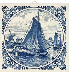 Delft Blue Tile, Windmill Scene with Fancy Border, 6
