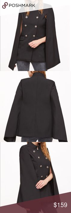 Black double breasted cape Black double breasted cape. 100% polyester fabric has no stretch. 2 front pockets. New without tags. Never worn. Ships within 7 business days. 70 Fox&Lace Jackets & Coats Capes